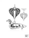 Sterling Silver Dachshund Longhaired w/Badger, Body w/Healing Angels Pendant -- new
