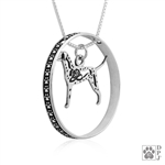 Sterling Silver Dalmatian Pendant, w/Fire Hat in Body, w/Colossal Blinger -- new