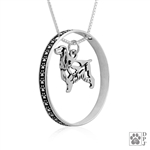 Sterling Silver English Cocker Spaniel Pendant, w/Pheasant in Body, w/Colossal Blinger -- new