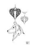 Sterling Silver Flat-Coated Retriever, Head w/Healing Angels Pendant -- new
