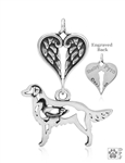 Sterling Silver Flat-Coated Retriever, Body w/Healing Angels Pendant -- new