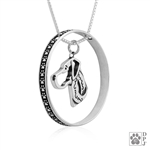 Sterling Silver Great Dane Pendant, Natural Ears, Head, w/Colossal Blinger -- new