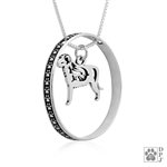 Sterling Silver Irish Wolfhound Pendant, w/Wolf in Body, w/Colossal Blinger -- new