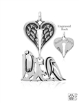 Sterling Silver Maltese Pendant, Showcut Body, w/Healing Angels -- new