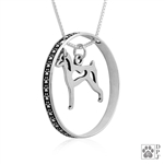Sterling Silver Miniature Pinscher Pendant, Body, w/Colossal Blinger -- new