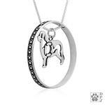 Sterling Silver Newfoundland Pendant, w/Life Preserver in Body, w/Colossal Blinger -- new