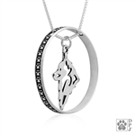 Sterling Silver Schipperke Pendant , Head, w/Colossal Blinger -- new