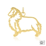 Gold Shetland Sheepdog Charm, Gold Shetland Sheepdog Pendant, Gold Sheltie Pendant, Gold Sheltie Charm, Gold Shetland Sheepdog Necklace,  Gold Sheltie Necklace
