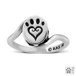 Sterling Silver Etched In My Heart Ring -- new