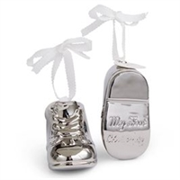 Mud Pie Silver Baby Bootie Ornament
