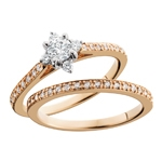 14k rose gold & white gold engagement bridal set