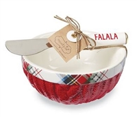 mud pie cable knit & red tartan 2 piece dip bowl set