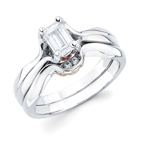 Emerald cut engagement ring with shadow wedding band