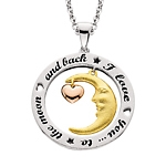 Sterling Silver & Gold Plated I Love you to the moon and back necklace