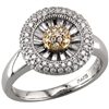 Two Tone Diamond Circle Ring