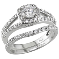 Split Shank engagement ring with diamond wedding band