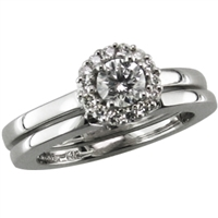 White gold diamond halo engagement ring with shadow band