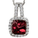 White gold rhodolite garnet with diamonds necklace
