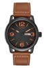 Men's Citizen Eco Drive Brown Strap Watch with Black Dial