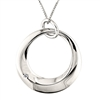 Sterling silver big circle necklace with diamond