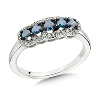 5 blue diamond white gold ring
