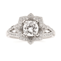 14k white gold diamond engagement semi-mount ring