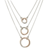 Frederic Duclos sterling silver & rose gold plated 3 tiered circle necklace