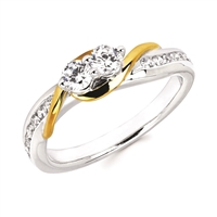 2Us 2 Stone Diamond Fashion Ring with Yellow Gold Accents