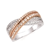 two tone white & rose gold diamond crossover ring