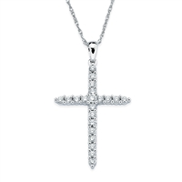 White Gold & Diamond Cross Necklace