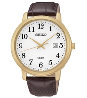 Mens Seiko Brown Leather Band