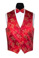 Royal Red with Gold Flourish Vest & Bow
