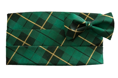 Holiday Green Plaid Cummerbund & Bow Set
