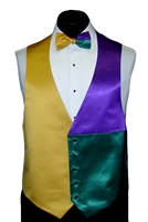 Mardi Gras Satin 3 Panel Vest & Bow