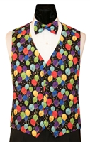 Rainbow Gold Balloons Vest & Bow set. Made in USA!