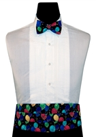 Rainbow Gold Balloons Cummerbund & Bow Set