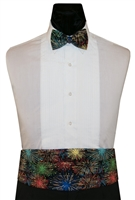 Rainbow Gold Sparklers Cummerbund & Bow Set