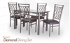 Diamond Dining Set Glass Top Table with base and four Chairs