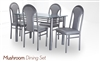 Mushroom Dining Set Glass Top Table with base and four Chairs