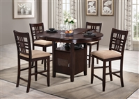 "42"" Round Island Table opens to 54"" Solid Wood Top with four counter Stools Expresso Finish"