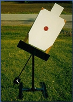 Swinging Pendulum Steel Target Stand - Paper or Cardboard - Dual Post