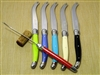 French Laguiole cheese knives in multi colors