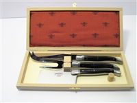 French Laguiole cheese knife set genuine horn