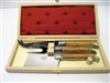 French Laguiole cheese knife set olive wood