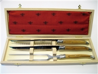 French Laguiole Olive wood carving knife sets