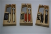 French Laguiole cheese and tart cleaver knives with fork in multi colors