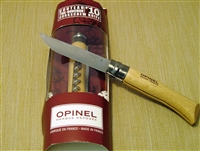 French Opinel 2 pc knife with beech wood handle and cork screw