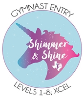 Gymnast Entry Fee - Achievement Levels 1-8; Xcel  : Shimmer and Shine