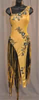 Gold & Black Longe Fringe Latin Dress