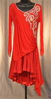 Red Long Sleeves Front Drape Latin Dress